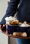 Copper tray with hot chocolate, skewers of roasted marshmallows and a container of whipped cream