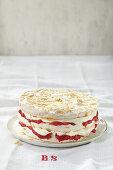Rhubarb meringue tart with almonds