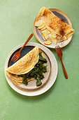 Spelt pancakes with savoury and sweet filling