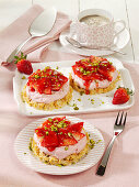 Crispy white chocolate bases topped with strawberry-and-mascarpone cream