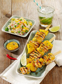 Grilled chicken-and-pineapple skewers with mango