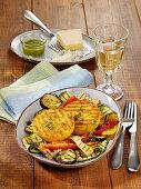 Corn semolina patties with grilled antipasti vegetables