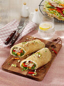 Einkorn pancake wraps with a smoked trout filling