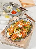 Nordic potato salad with wild salmon and horseradish sour cream