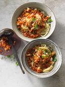Spaghettini with scampi bolognese