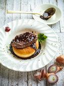 Sirloin donut and chocolate sauce