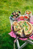 Herb quiche, polpette on skewers and antipasti pasta salad