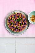 Vegan blueberry tart with brittle