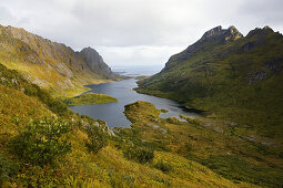 View at lake Agvatnet surrounded by mountains, Lofoten, Norway, Scandinavia, Europe