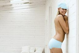 Woman in underwear posing