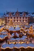 Christmas market in market square, Coburg, Franconia, Bavaria, Germany