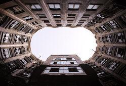 Spain, Barcelona, Casa Mila, atrium viewed from inner courtyard
