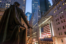 Gearg Wahsington Statue, New York Stock Exchange, Wall Street, Downtown, Manhattan, New York City, New York, USA