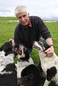 Caerwyn Roberts, sheep farmer nearby Harlech with sheepdogs, Merthyr Farm, North Wales, Great Britain, Europe