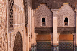 Courtyard in the Ben Youssef Madrassa, an old Islamic school, Marrakech, Morocco