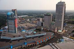 Skylon Tower view on Fallsview Casino, Niagara Falls, Province Ontario, Canada