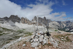 Forcella Col de Pois, Tofana Mountains, View to Cadin Mountains, Dolomites, South Tyrol, Italy
