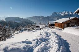Bauernhaus, Schnee, Winter, Skigebiet, Werfenweng, Österreich, Alpen, Europa
