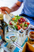 Lunch at the Micky Restaurant, Via Fegina, Monterosso al Mare, province of La Spezia, Cinque Terre, Liguria, Italy, Europe
