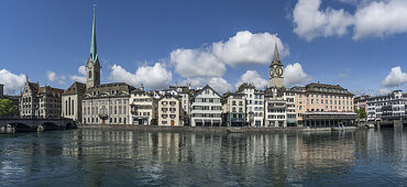 Münsterbrücke, Limmat, Fraumünster, St. Peterskirche, Panorama, Zürich, Schweiz