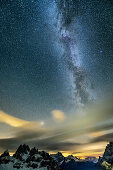 Milky Way above Cadini Group, from hut Auronzo-Huette, Tre Cime, Sexten Dolomites, Dolomites, UNESCO World Heritage Site Dolomites, Venetia, Italy