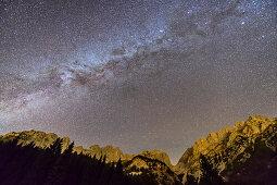Nightsky with milky way above Kaiser range, Wilder Kaiser, Kaiser range, Tyrol, Austria