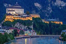 River Inn with city and illuminated castle of Kufstein, Kufstein, Tyrol, Austria