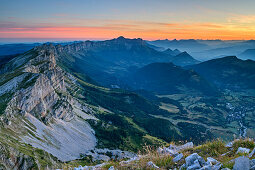 Morning Mood over the mountains of the Vercors with mouche role in the background, from the Grand Veymont, Vercors, Dauphine, Dauphine, Isère, France