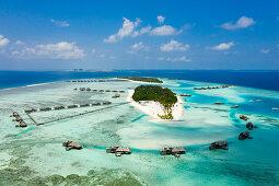 Luftaufnahme der Ferieninsel Lankanfushi, Nord Male Atoll, Indischer Ozean, Malediven