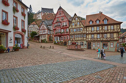Market square with fountain and half-timbered houses, Miltenberg, Main, Lower Franconia, Bavaria, Germany, Europe