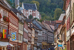 View along the main street, Miltenberg, old town, Main, Lower Franconia, Bavaria, Germany, Europe