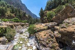 Fluss am Rastplatz Samariá auf Samaria Schlucht Wanderung, Westen Kreta, Griechenland