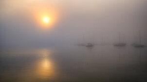 Boote im Hafen bei nebliger Herbststimmung, Sonnenaufgang am Starnberger See, Seeshaupt, Bayern, Deutschland