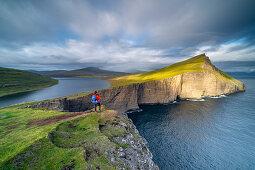 Rock formation at Leitisvatn, also called Sørvágsvatn, Vágar, Faroe Islands