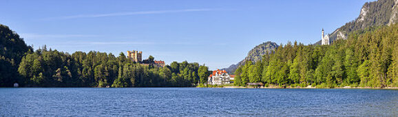 Hohenschwangau Castle and Neuschwanstein Castle at Schwansee, panorama, Bavarian Allgäu, Bavaria, Germany
