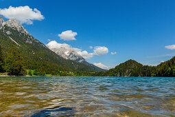 Waves at Hintersteinersee in the Kiaser Mountains, Kaiser Mountains, Tyrol, Austria