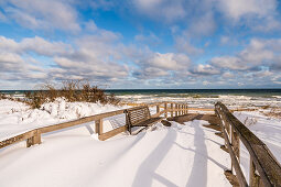 Snow drifts at the beach crossing in Dahme, Baltic Sea, Ostholstein, Schleswig-Holstein, Germany