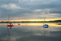 Sailing boats in Sieseby an der Schlei, evening mood, Schwansen, Thumby, Schleswig-Holstein, Germany