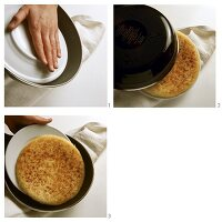 Turning rosti in pan with a plate