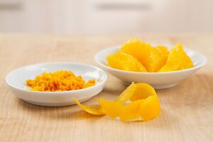 Orange zest and filleted orange