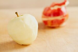 A peeled apple