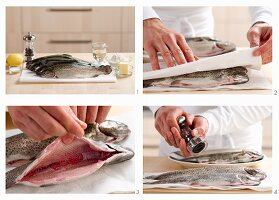 Trout being prepared