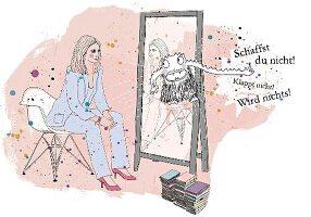 Frau sitzt vor einem Spiegel aus dem ein Monster springt, Zeichung