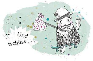Ein Monster geht mit Hut, Skateboard und Proviant auf Reisen, Zeichung