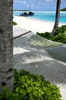 Lagune, Hängematte, Insel Veligandu Huraa, Malediven