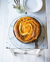 Baking with stevia: cheesecake in a baking tin on a wire rack