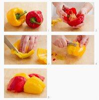 Paprikaschoten mit Gemüseschäler schälen