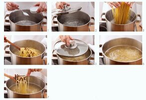 Spaghetti being cooked until al dente