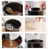 Sauce entfetten und mit Speisestärke binden