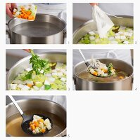 Vegetable stock being made
